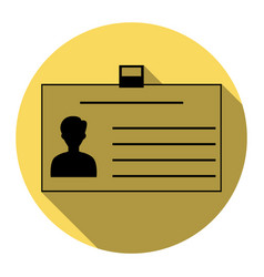 identification card sign flat black icon vector image