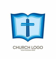 Jesus cross and bible vector