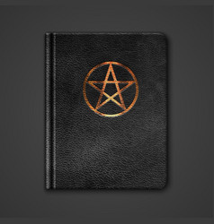 Leather Book With Pentagram vector image vector image