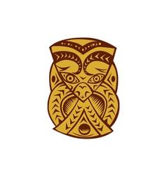 Maori mask woodcut vector