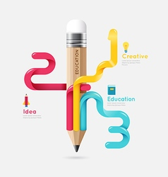 Pencil colorful science and education line concept vector