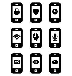 Phone with icons vector image vector image