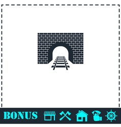 Railway tunnel icon flat vector image