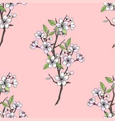 seamless pattern with sakura vector image vector image