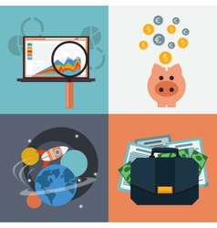 Seo analysis piggy bank space with rocket vector image vector image