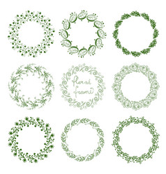 Set of round floral frames vector
