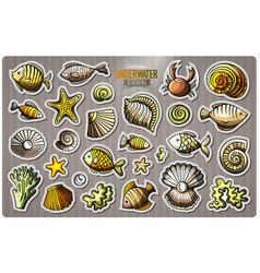 Set of underwater life cartoon stickers vector