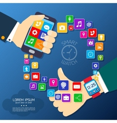 Smart watch synchro poster vector image vector image