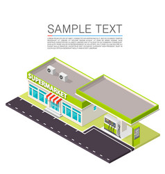 Supermarket with petrol station on the roadside vector