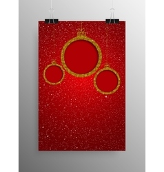 Vertical poster gold sequin frame christmas ball vector