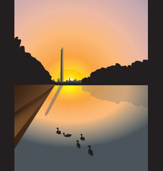 Washington monument sunset vector