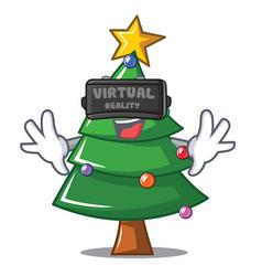 With virtual reality christmas tree character vector
