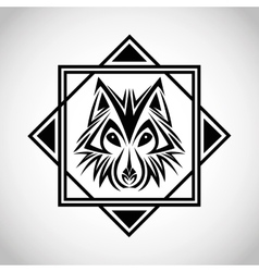 Wolf tattoo animal design vector