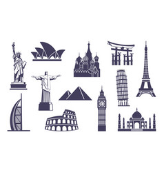 world sights icons architectural sights of vector image
