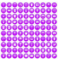 100 interior icons set purple vector image