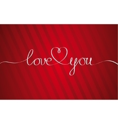Love you heart hand drawn lettering vector