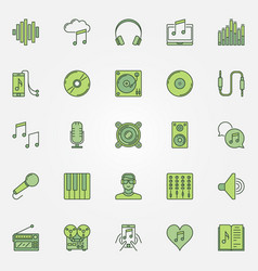 Colorful music icons set vector