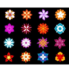 Set of colorful flowers and blossoms vector