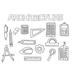 Architecture elements hand drawn set vector