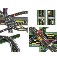 Set of abstract road junction crossing of various vector