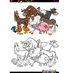farm animal characters coloring book vector image