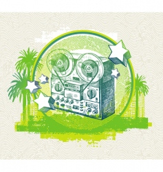 Hand drawn retro tape recorder vector