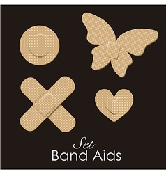 Band aids collection skin color animal forms vector