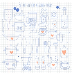 Set of kitchen tools on notebook paper vector