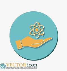 Hand holding the atom molecule vector