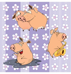 Background with pigs vector
