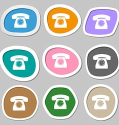 Retro telephone icon symbol multicolored paper vector
