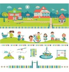 Kids kindergarten preschool buildings and yard vector