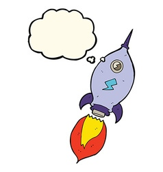 Cartoon spaceship with thought bubble vector