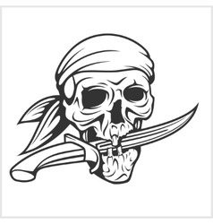 Pirate skull in headband with sword vector