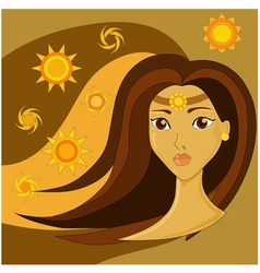 Portrait of a girl with brown hair vector