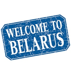 Welcome to belarus blue square grunge stamp vector