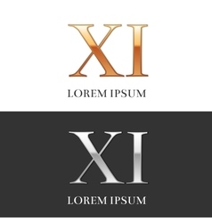 11 xi luxury gold and silver roman numerals vector