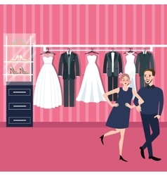 Couple man woman select wedding dress in bridal vector