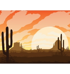 Background of landscape with desert and cactus vector