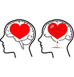 Brain and heart concept vector