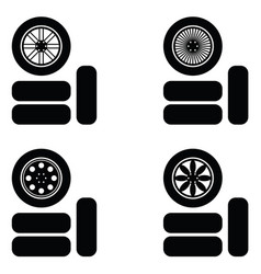 car wheel icon set vector image