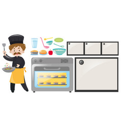 chef and kitchen equipment set vector image