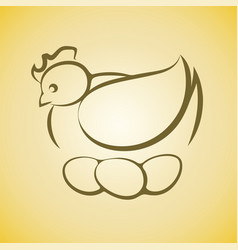 chicken hen sitting on three eggs vector image vector image