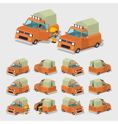 Cube World Old orange pickup with tent vector image