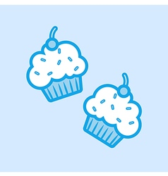 Cupcakes Muffin Icon Simple Blue vector image