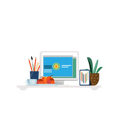Designer workplace concept vector