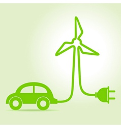 Eco car make a wind-mill icon vector image