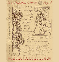 frankentsein diary with steampunk mechanism vector image