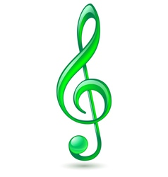 Green treble clef vector
