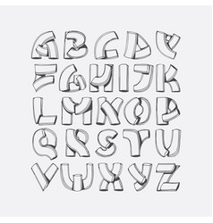 Hand drawn font imitation of 3d letters vector